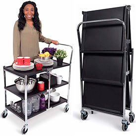 Luxor 2 and 3 Shelf Collapsible Metal Carts