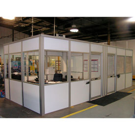 Porta-King Modular Inplant Offices, Class A Fire Rated, STC27 Sound Rated, Steel Clad Over Drywall (Aluminum Frame)