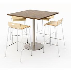 KFI Bar Height Table with Stacking Barstool Set