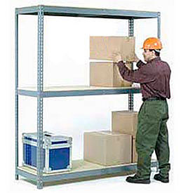 Made in USA - 8'H Boltless Wide Span Metal Storage Rack With Wood Deck
