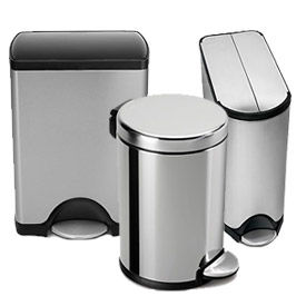 simplehuman® Stainless Steel Hands Free Cans