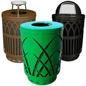 Covington Series Steel Outdoor Waste Receptacles