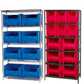 Steel or Chrome Shelving With Plastic Heavy Duty Hopper Bins