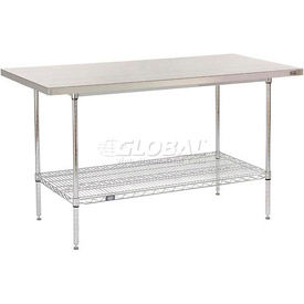 Stainless Steel Specialty Tables GlobalIndustrialcom - Stainless steel table with backsplash and sides