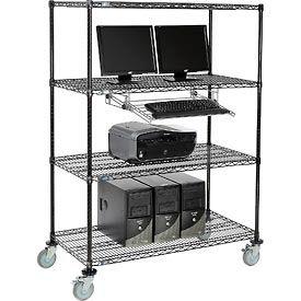 Mobile Wire Shelving Computer LAN Workstation