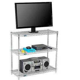 Media Stand - 3-Shelf Wire - Chrome