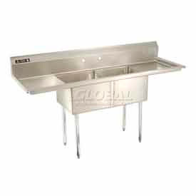 Freestanding Two Compartment Sinks With Two Drainboards