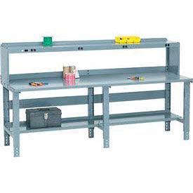 Global Industrial™ Pre-Configured Extra Long Steel Top Benches with Side/Back Rails, Lower Shelf and Riser
