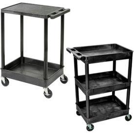 Luxor® Tray & Flat Shelf Plastic Utility Carts