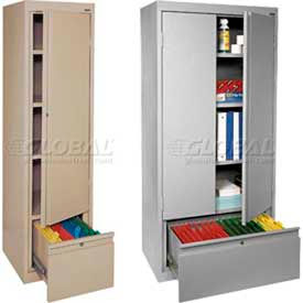 All-Welded Full Height Storage Cabinets With File Drawer/Bookcase