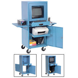 Mobile Security Computer Cabinet With Slide-Out Shelves