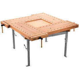 Beech Bench Top with Steel Trestles