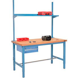 Pre-Configured Heavy Duty Height Adjustable Production Workbenches With Drawer, Uprights and Shelf - Blue