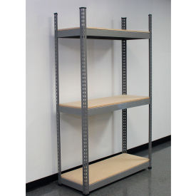 Interlake Mecalux Heavy Duty Rivet Steel Shelving With Wood Deck