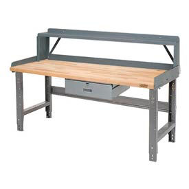 Pre-Configured Height Adjustable Workbench with Drawer, Riser and Backstops