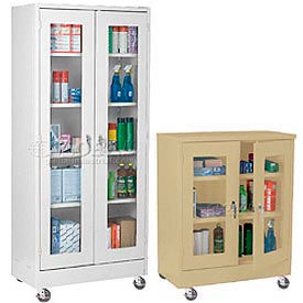 All-Welded Clear View Mobile Storage Cabinets