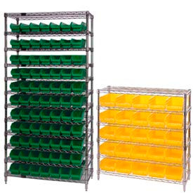 Chrome Wire Shelving With Plastic Shelf Bins