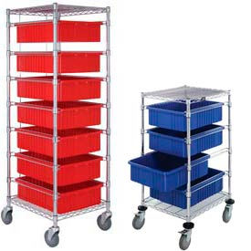 Chrome Wire Carts With Dividable Grid Containers