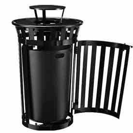 Global Industrial™ Outdoor Slatted Trash Receptacles with Access Door