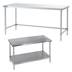 Heavy Duty 14 Gauge Stainless Steel Workbenches - Flat Top