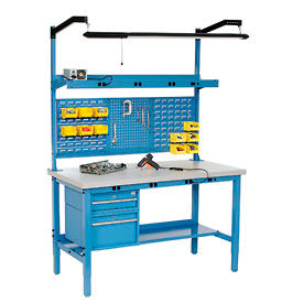 Heavy Duty Height Adjustable Production Bench - Blue