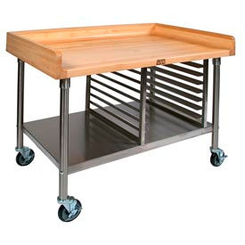 John Boos Mobile Prep Tables - Stainless Steel Legs & Shelf