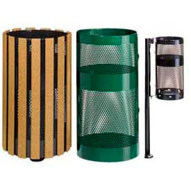 Rubbermaid® Round Perforated Steel Garbage Cans