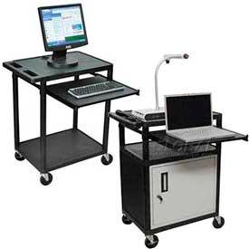 Plastic Audio Visual Carts with Sliding Keyboard Shelf
