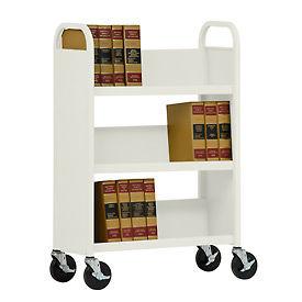 Sandusky® Welded Single-Sided Sloped-Shelf Book Trucks