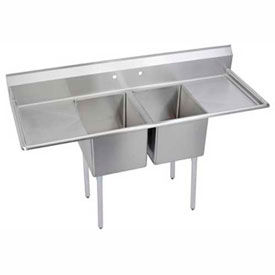 Freestanding Multiple Compartment, Two Drainboard Stainless Steel Sinks