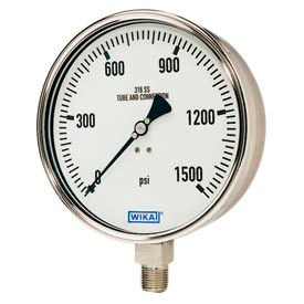 Wika® Large Dial Stainless Steel Industrial Gauges With Case To Socket Connection