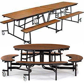 National Public Seating® Cafeteria Tables with Bench Seating - MDF