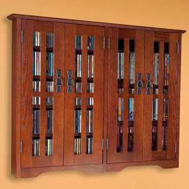 Leslie Dame -  Solid Oak Wall Mounted Glass Door Multimedia Storage Cabinets