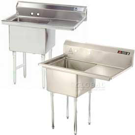 Freestanding, One Compartment Right Drainboard Stainless Steel Sinks