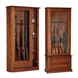 American Furniture Classics Wood Decorated Gun Storage Cabinets