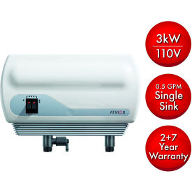 ATMOR 3kW/110V Single Sink 0.5 GPM Electric Tankless Water Heater, Pressure Relief Device