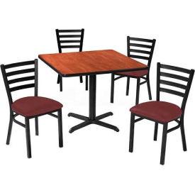 "Premier Hospitality 42"" Square Table & Ladder Back Chair Set, Mahogany/Burgundy Vinyl Chair"