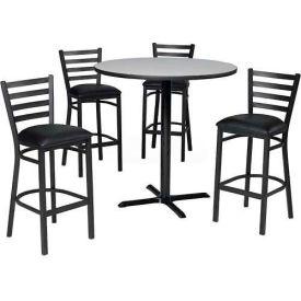 "Premier Hospitality 36"" Round Table & Barstools w/ Ladder Back - Figured Mahogany /Black Vinyl"