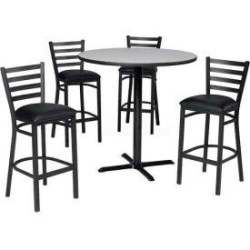 "36"" Round Table & Ladder Back Bar Ht Set Gray Nebula Laminate Table/Black Vinyl... by"