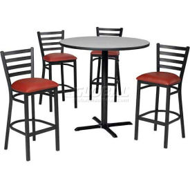 "36"" Round Table & Ladder Back Bar Ht Set Nepal Teak Laminate Table/Red Vinyl... by"