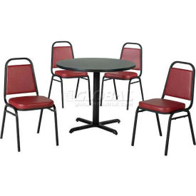 "Premier Hospitality 36"" Round Table & Stack Chair Set - Figured Mahogany/Burgundy Vinyl Chair"