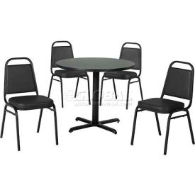 "36"" Round Table & Economy Stack Chair Set, Figured Mahogany Laminate Table/Black... by"