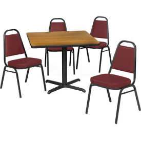 """Premier Hospitality 42"""" Square Table & Stack Chair Set, Wild Cherry/Burgundy Vinyl Chair"""