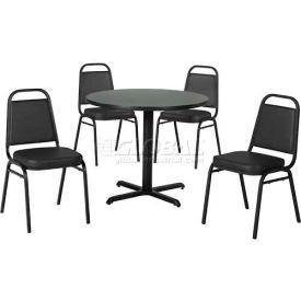 "Premier Hospitality 42"" Round Table & Stack Chair Set, Gray Nebula/Black Vinyl Chair"
