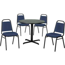 "Premier Hospitality 42"" Round Table & Stack Chair Set, Nepal Teak/Blue Vinyl Chair"