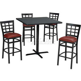"36"" Round Table & Window Pane Back Bar Ht Set Figured Mahogany Laminate Table/Red... by"