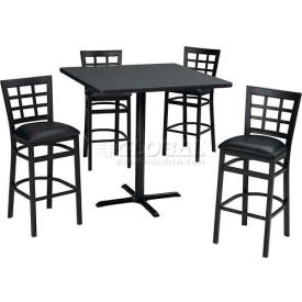 "36"" Round Table & Window Pane Back Bar Ht Set Maple Fusion Laminate Table/Black... by"