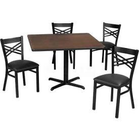 "Premier Hospitality 36"" Square Table & Criss-Cross Back Chair Set, Nepal Teak /Black Vinyl Chair"