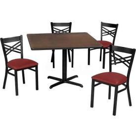 "Premier Hospitality 36"" Square Table & Criss-Cross Back Chair Set, Wild Cherry /Burgundy Vinyl Chair"