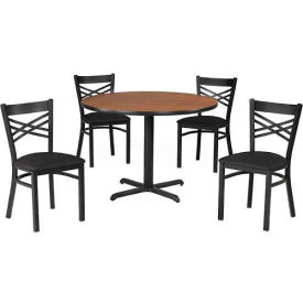 "Premier Hospitality 36"" Round Table & Chairs w/ Criss-Cross Back - Maple Fusion/Black Vinyl"
